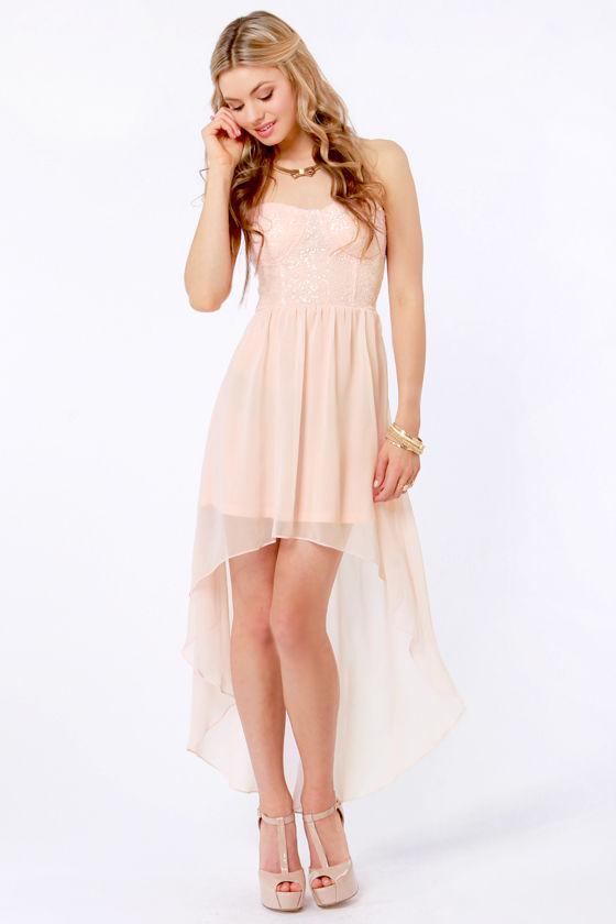 7cf8f9be838 Sexy Strapless Dress - Peach Dress - Sequin Dress -  65.00