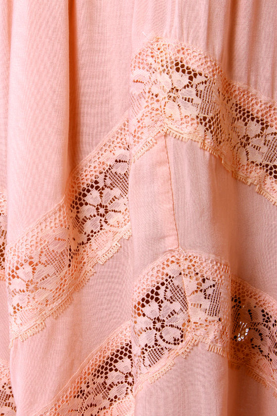 Cross-Country Cutie Peach Lace Dress at Lulus.com!