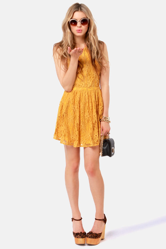 Lucca Couture Dress - Mustard Yellow Dress - Lace Dress - $82.00
