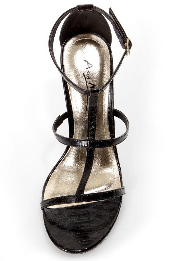 Anne Michelle Enzo 17 Black Snake T-Strap Heels at Lulus.com!
