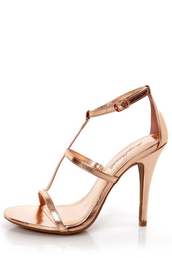 Anne Michelle Enzo 17 Rose Gold Metallic T Strap Heels