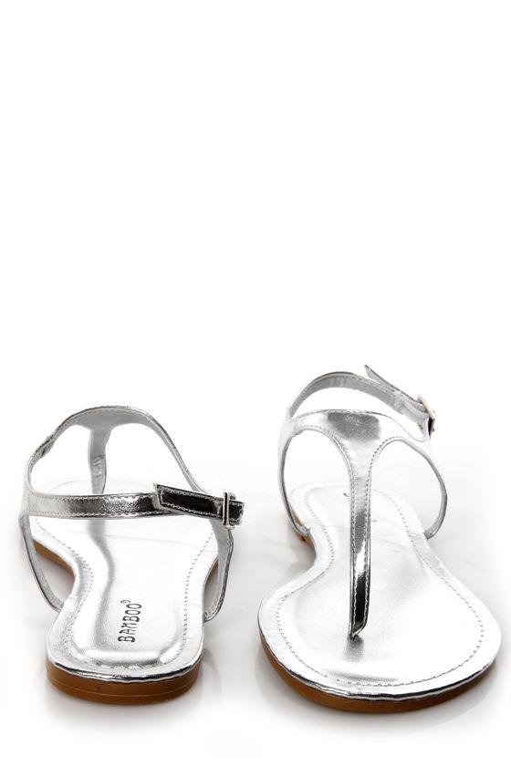 Bamboo Morris 78 Silver Metallic Thong Sandals at Lulus.com!
