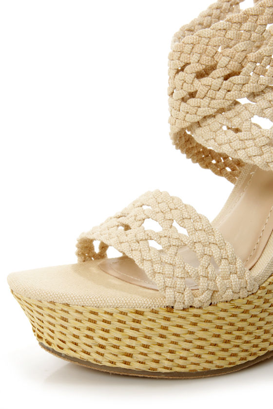 Bamboo Pompey 39 Beige Canvas Crocheted Wedge Sandals at Lulus.com!