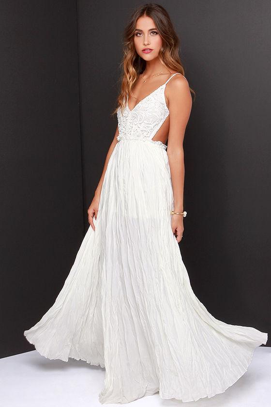 White Long Crochet Maxi Dress