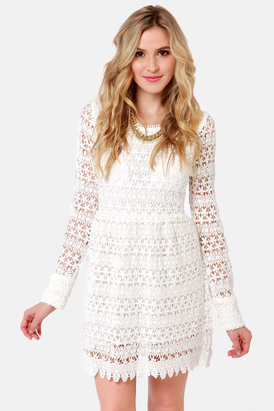 Pretty Ivory Dress Crocheted Dress Lace Dress 8300