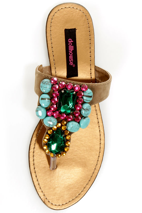 Dollhouse Cruisin Nude Gemstone Embellished Thong Sandals at Lulus.com!