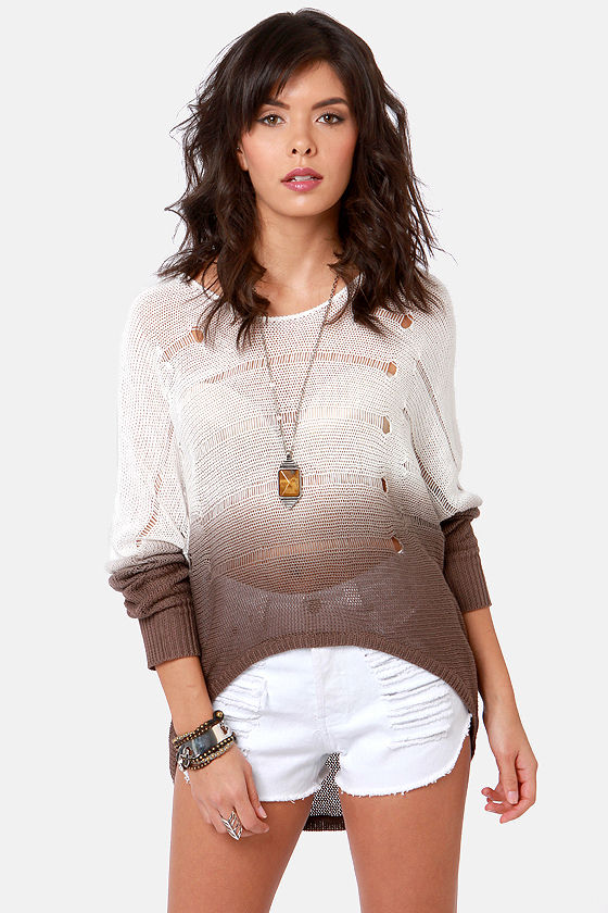 Beach Bonfire White and Brown Ombre Sweater at Lulus.com!