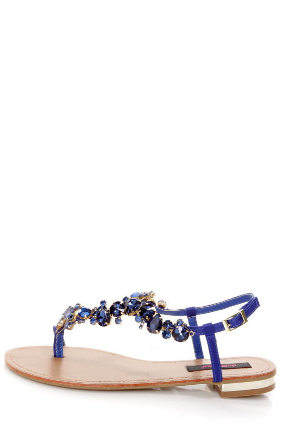 186ca384c Dollhouse Radiant Indigo Blue Rhinestone Studded Thong Sandals -  34.00