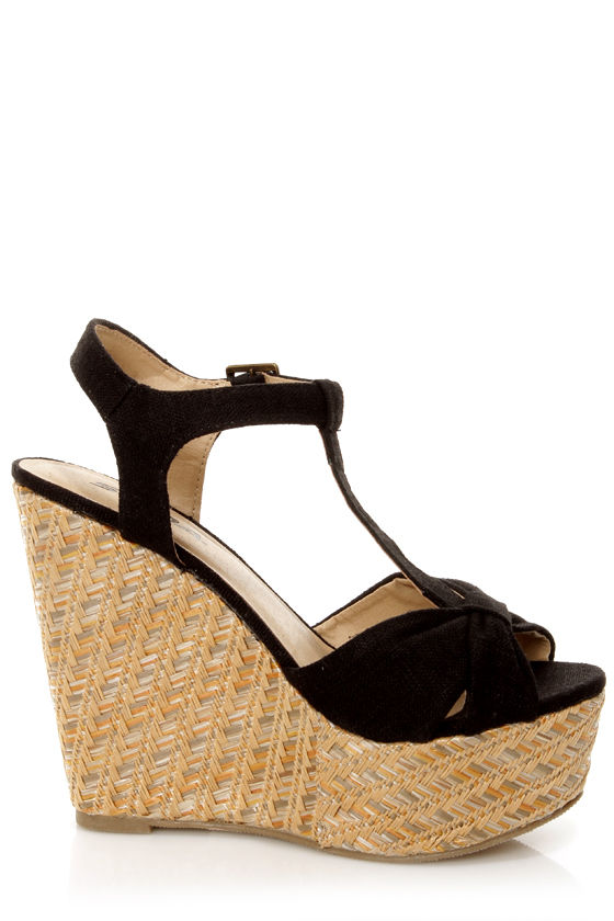 Soda Kose Black Linen T-Strap Platform Wedge Sandals at Lulus.com!