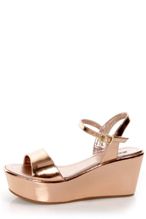 282e0cb1461 Soda Jozy Penny Metallic Flatform Wedge Sandals -  23.00