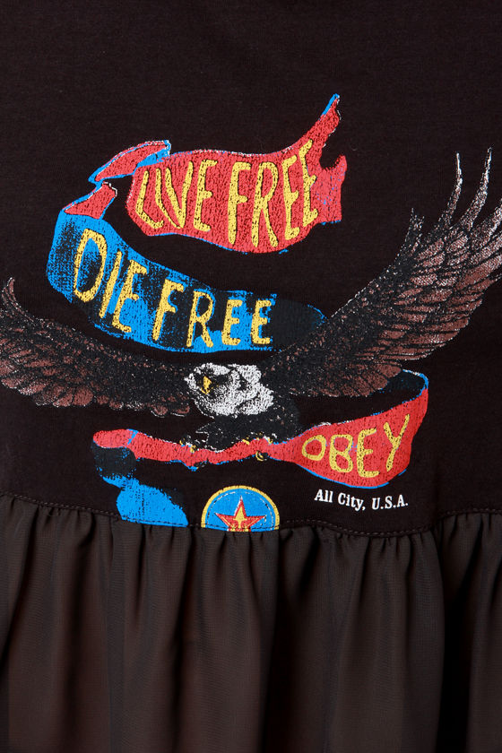 Obey Free Souls Washed Black Print Top at Lulus.com!