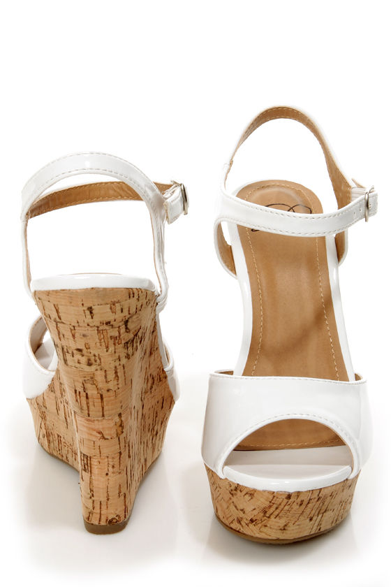 0763b5895cc My Delicious Life White Patent Platform Wedge Sandals -  25.00