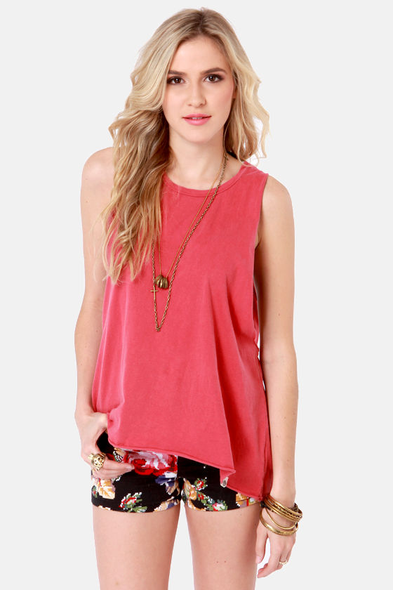 Obey Rider Dusty Red Muscle Tee at Lulus.com!