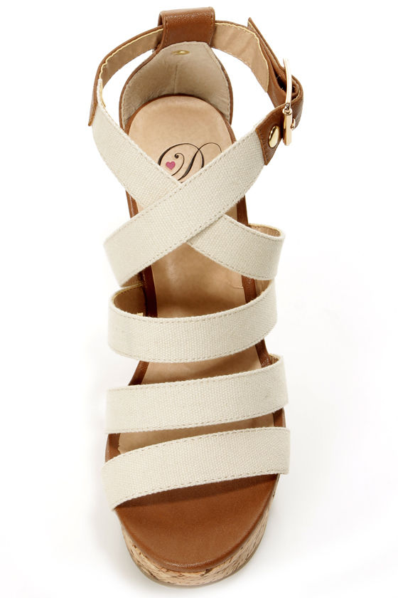 My Delicious Clean Beige and Tan Cotton Strappy Wedge Sandals at Lulus.com!