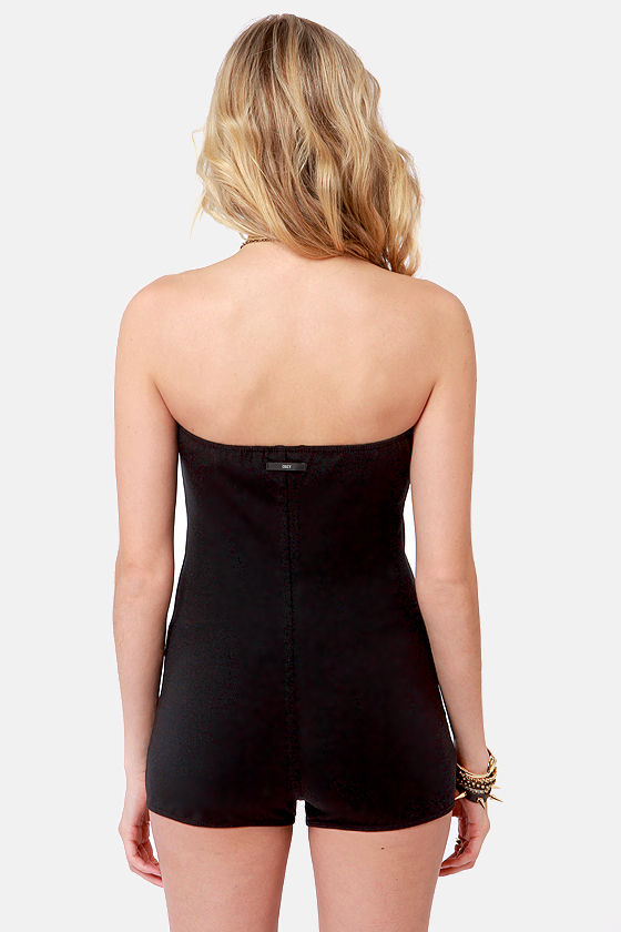 Obey Annabelle Strapless Black Bodysuit at Lulus.com!