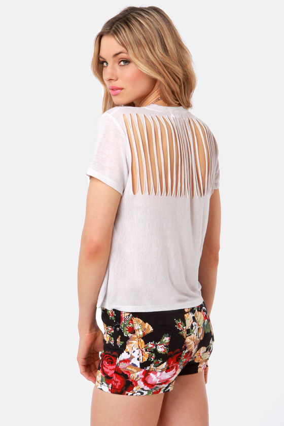 Lucca Couture Mad Slash Ivory Top at Lulus.com!