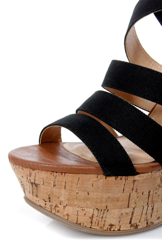 My Delicious Clean Black and Tan Cotton Strappy Wedge Sandals at Lulus.com!