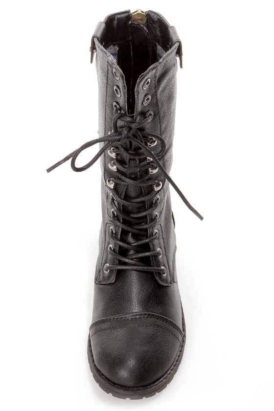 Terra 01 Black Lace-Up Convertible Combat Boots at Lulus.com!