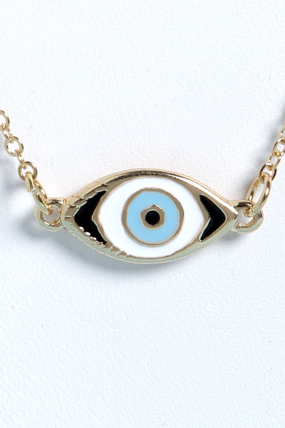 Sight For Sore Eyes Gold Eye Necklace at Lulus.com!