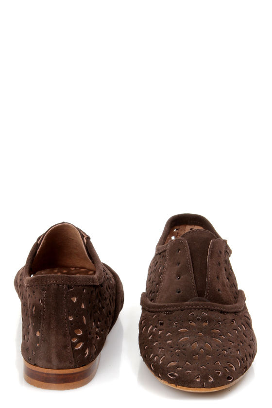 Sixtyseven Katrina Serraje Mocha Brown Cutout Oxford Flats at Lulus.com!