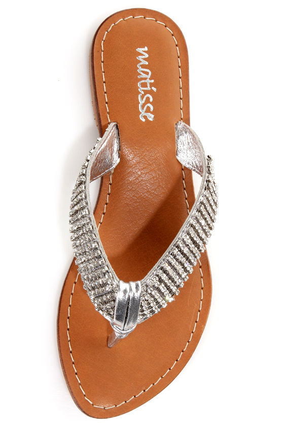 Matisse Galaxy Silver Rhinestone Studded Thong Sandals at Lulus.com!