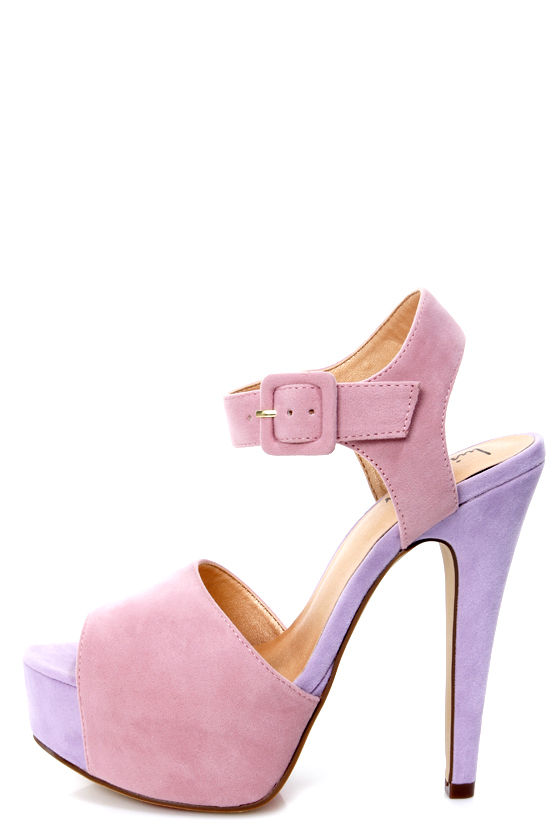 25fa43f04c3 Luichiny April Daze Blush and Lilac Color Block Platform Heels