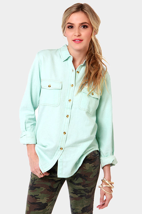 Obey Rusted Embroidered Blue Button-Up Top at Lulus.com!