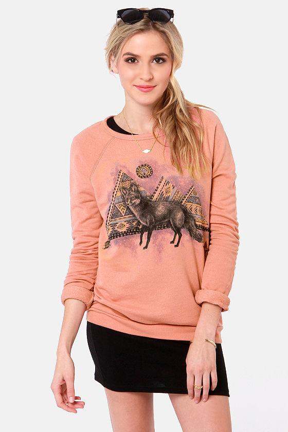 fd1df9784cf37f Obey Fox Sweatshirt - Dusty Coral Sweater - Fox Print Sweater -  54.00