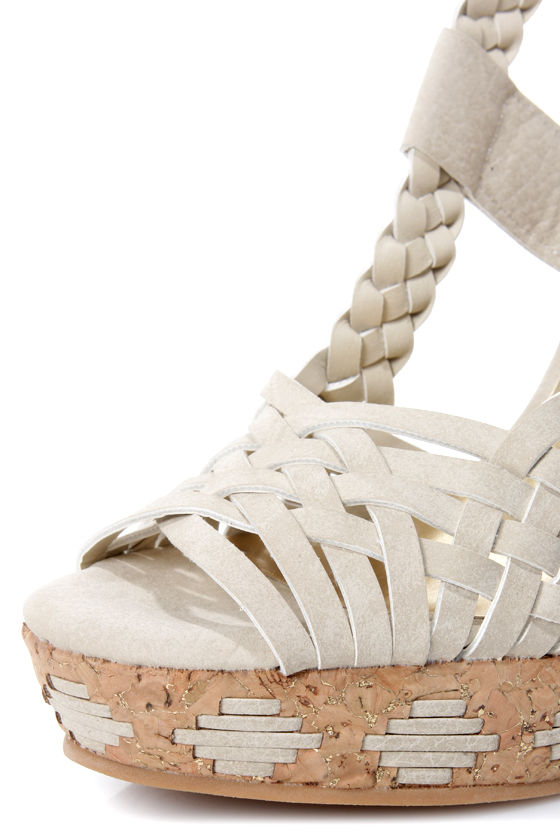 Not Rated Margarita Cream Braided Wedge Sandals at Lulus.com!