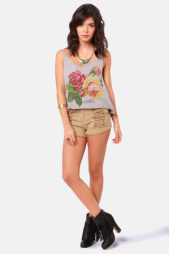 Obey Bed of Roses Grey Rose Print Crop Top at Lulus.com!