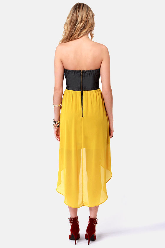 Song of the Southwest Yellow High-Low Strapless Dress at Lulus.com!