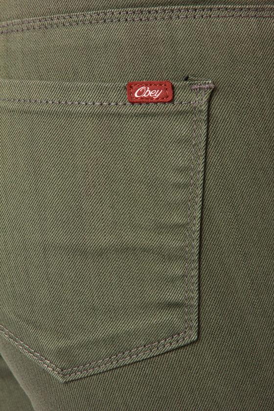 Obey Lean & Mean Vintage Dye Olive Green Skinny Jeans at Lulus.com!