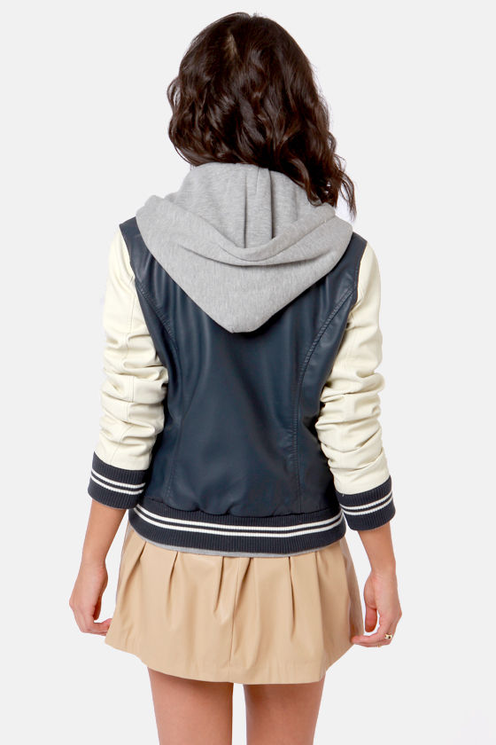 Obey Varsity Lover Navy Blue Hooded Jacket at Lulus.com!