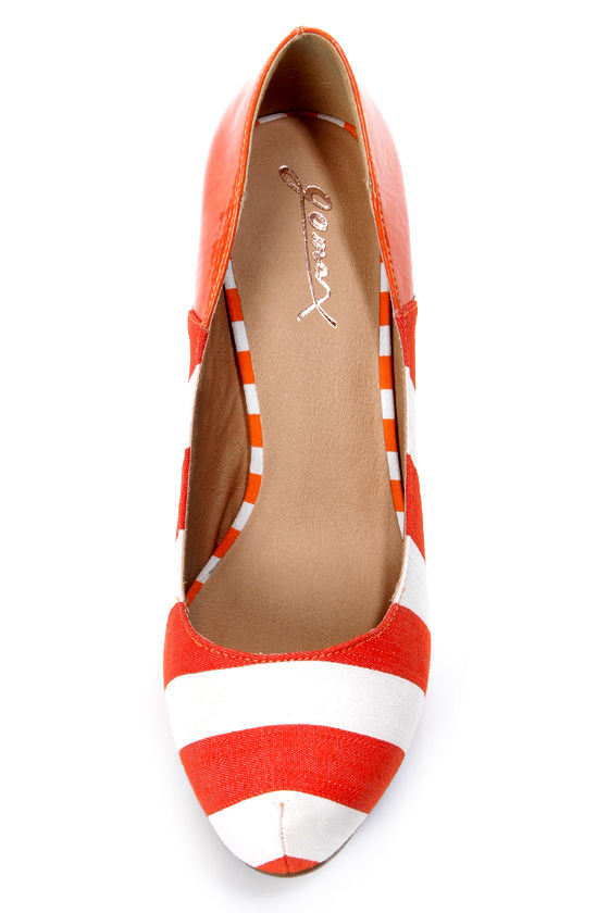 GoMax Cheap Trick 04F Orange and White Striped Platform Pumps at Lulus.com!