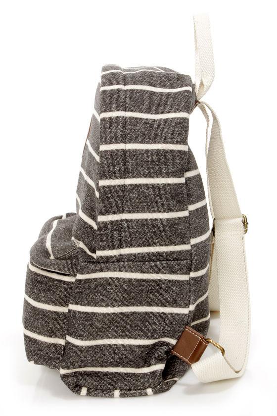 Madden Girl Bskool Backpack - Striped Backpack - Charcoal Grey ...