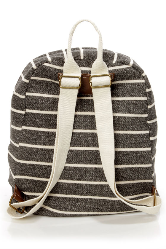 Madden Girl Bskool Charcoal Grey Striped Backpack at Lulus.com!