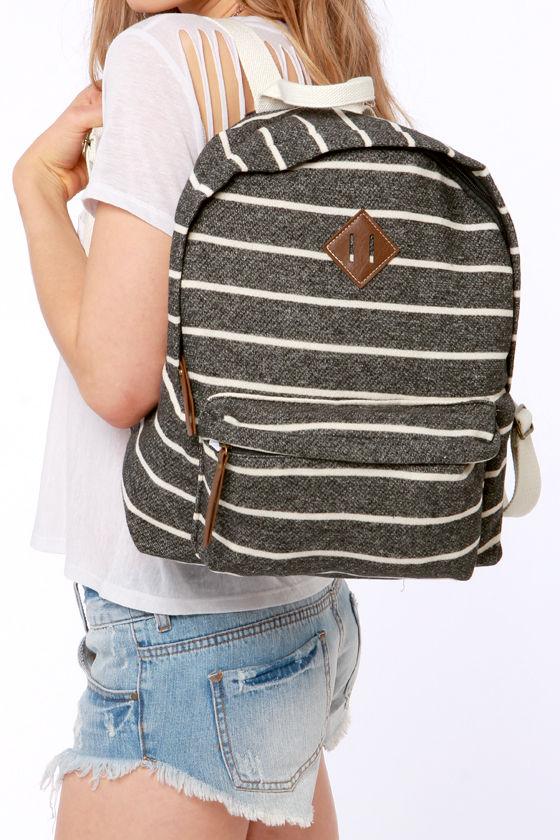 0e7ff856e0f Madden Girl Bskool Backpack - Striped Backpack - Charcoal Grey Backpack -  $54.00