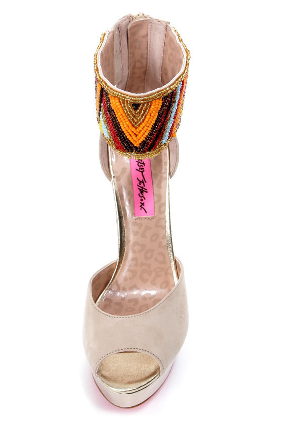 Betsey Johnson Ireen Nude Multi Beaded Ankle Cuff Platform Heels at Lulus.com!