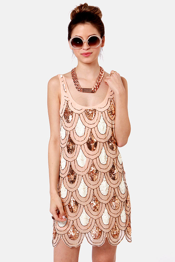 Party Like It's 1929 Peach Sequin Dress at Lulus.com!