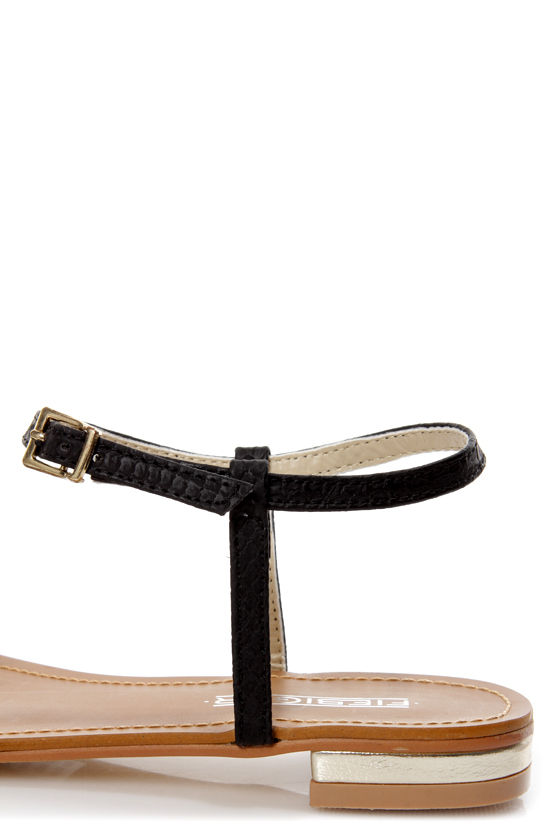 Fiebiger Bowtie Black Bow-Topped Flat Sandals at Lulus.com!
