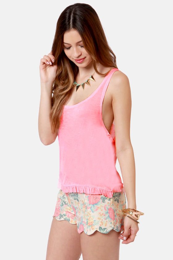 Lost Crush Posey Coral Pink Top at Lulus.com!