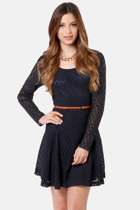 Black Sheep Mitzy Navy Blue Lace Dress at Lulus.com!
