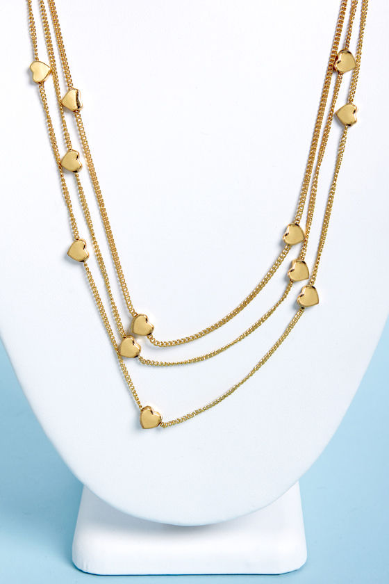 From Heart to Finish Gold Heart Layered Necklace at Lulus.com!