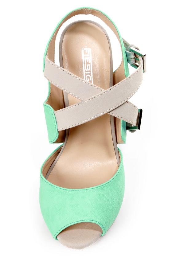 Fiebiger Spearmint Mint and Grey Platform Peep Toe Heels at Lulus.com!