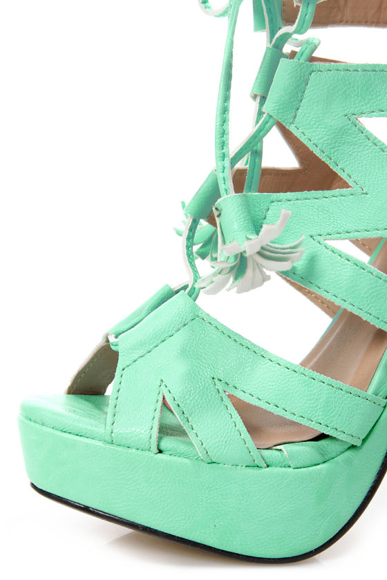 Fiebiger Mint4Me Mint Green Lace-Up Cutout Platform Heels at Lulus.com!