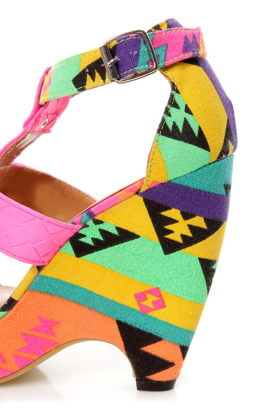 Fiebiger Bubble Gum Neon Pink Print T-Strap Wedge Sandals at Lulus.com!