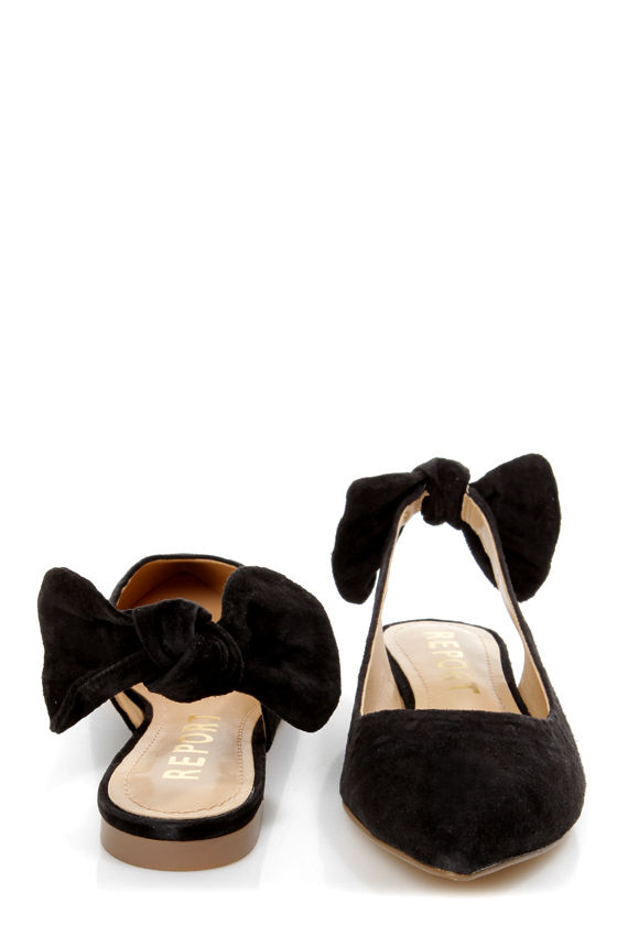 Report Shelli Black Back-Bow Slingback Pointed Flats at Lulus.com!