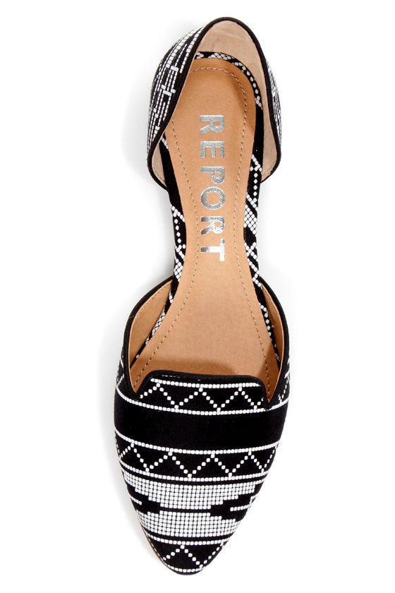 report jezzica black and white print d orsay pointed flats