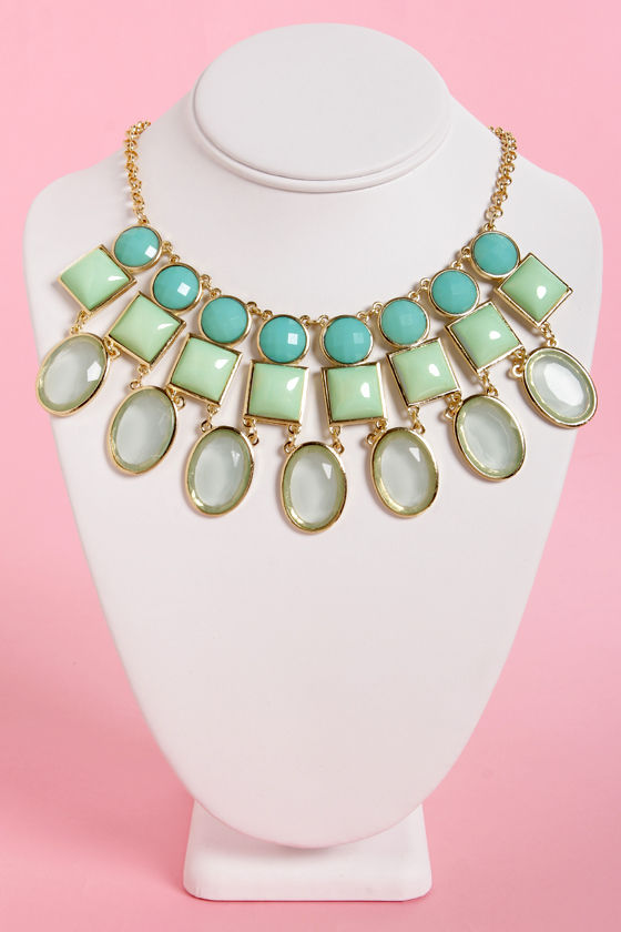 State Your Business Blue and Mint Green Necklace at Lulus.com!