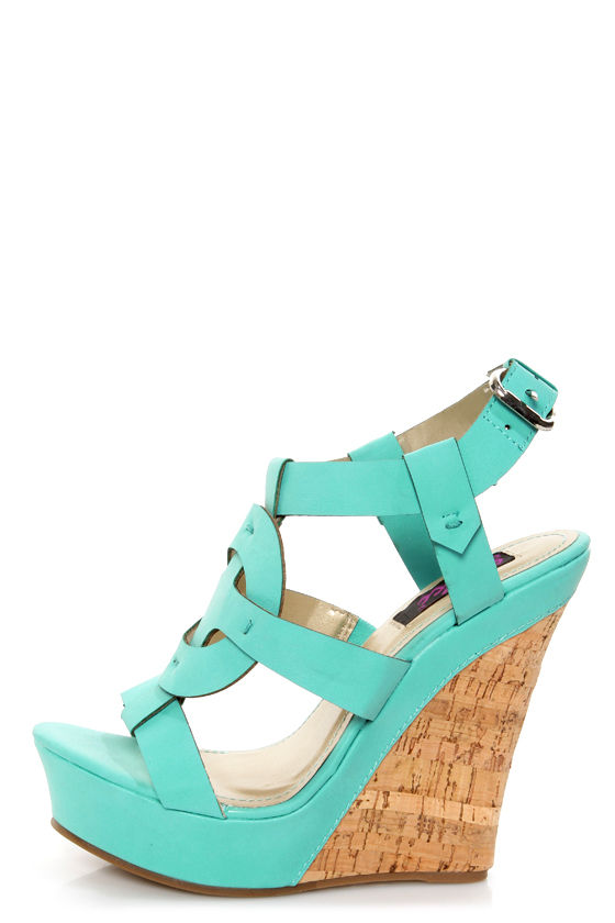 Yoki Celia 12 Teal Sun Cross T-Strap Platform Wedge Sandals at Lulus.com!